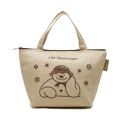 Cute Printed Jute Food Lunch Shopping Cooler Bag