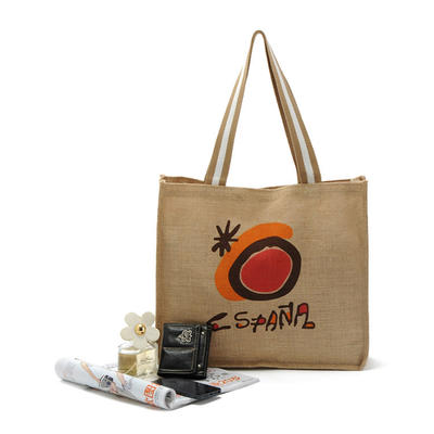 Wholesale promotional Eco-friendly Jute Hemp Grocery Tote Shopping Bag