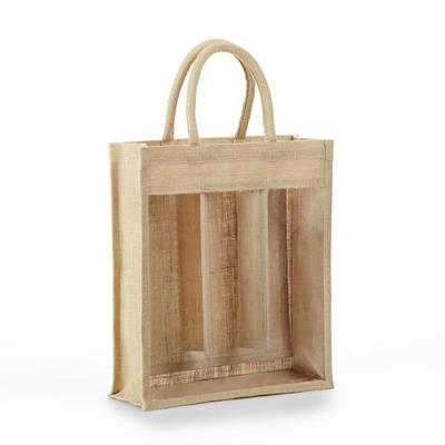 Wholesale reusable jute burlap wine tote gift bag