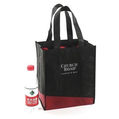 Custom PP 6 Bottle Non Woven Wine Protector Carrier Bag